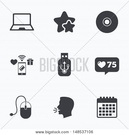 Notebook pc and Usb flash drive stick icons. Computer mouse and CD or DVD sign symbols. Flat talking head, calendar icons. Stars, like counter icons. Vector