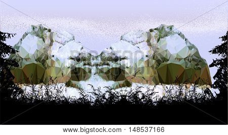 Misty mountain landscape with silhouettes of trees and plants. Winter landscape with mountains of polygons covered by snow