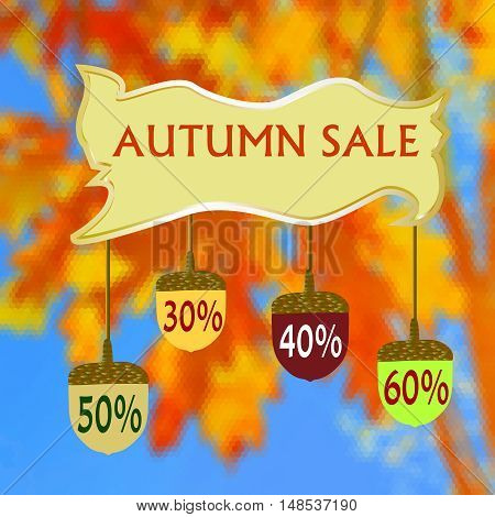Banner with autumn sale and acorns on a hexagonal background of leaves. Red, yellow, orange and blue background of oak leaves, acorns and text