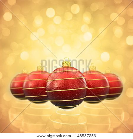 Red and gold christmas baubles on glittery background , 3d illustration
