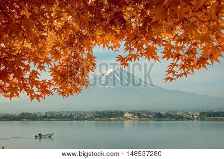 Autumn season and mountain Fuji in morning with red leaves maple at lake Kawaguchi Japan. Autumn season in Japan.