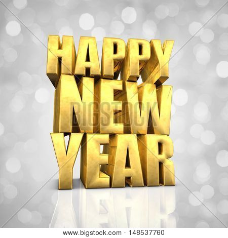 Happy New Year text on white glittery background , 3d illustration