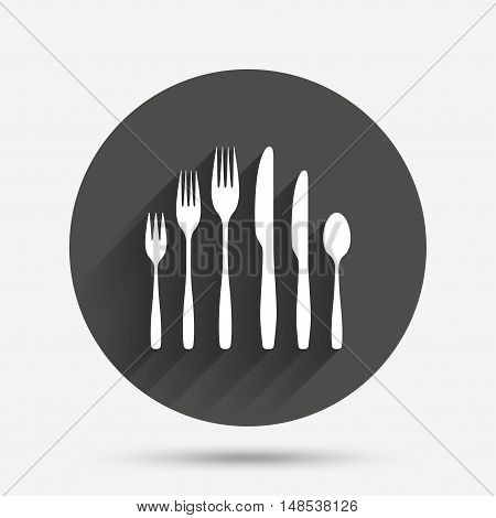 Dessert fork, knife, teaspoon sign icon. Cutlery collection set symbol. Circle flat button with shadow. Vector