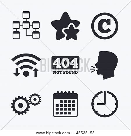 Website database icon. Copyrights and gear signs. 404 page not found symbol. Under construction. Wifi internet, favorite stars, calendar and clock. Talking head. Vector poster