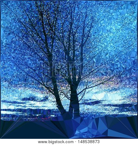 Nostalgic winter landscape with bare tree. Polygonal blue and white landscape with sky and silhouette of tree