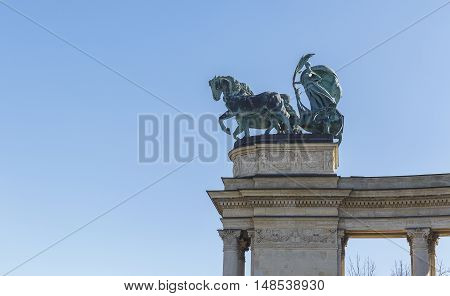 Symbolic figures at the top of the colonnade - allegorical image: War Peace Work Welfare.Heroes Square in Budapest