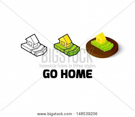 Go home icon, vector symbol in flat, outline and isometric style