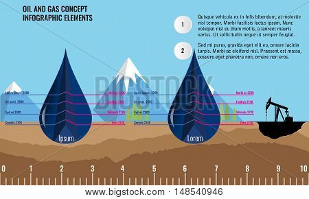 Oil and gas infographic design elements. 3d cut off Oil drops and soil ground and underground layers. Mountain background. Oil pump