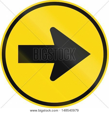 Temporary road sign used in the African country of Botswana - Turn right. poster