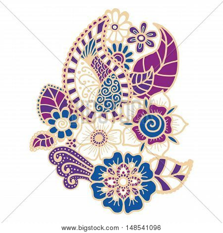 Mehndi design. Collection of patterns. Vector illustration