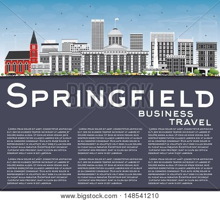 Springfield Skyline with Gray Buildings, Blue Sky and Copy Space. Vector Illustration. Business Travel and Tourism Concept . Image for Presentation Banner Placard and Web Site.
