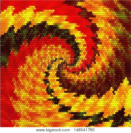 Abstract gold, red and black swirling pattern of mosaic cubes and scalloped spirals.Gold, red and black background of converging spirals resembling a dragon tail
