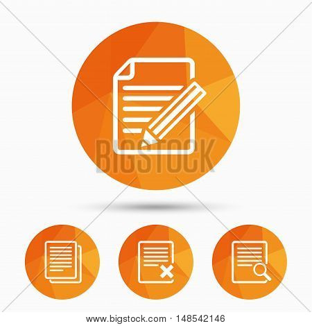 File document icons. Search or find symbol. Edit content with pencil sign. Remove or delete file. Triangular low poly buttons with shadow. Vector