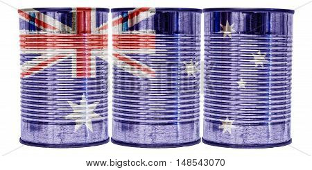 Three tin cans with the flag of Australia on them isolated on a white background.