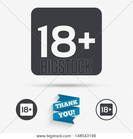 18 years old sign. Adults content only icon. Flat icons. Buttons with icons. Thank you ribbon. Vector