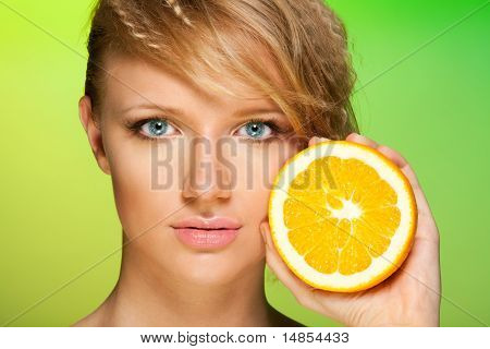 Beauty Shot Of A Woman With Orange