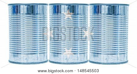 Three tin cans with the flag of Micronesia on them isolated on a white background.