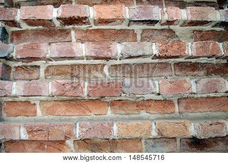 Red brick texture in layers with different prominence