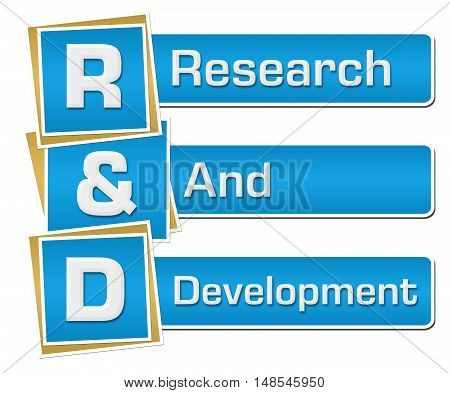 R And D - Research And Development text alphabets written over blue background.
