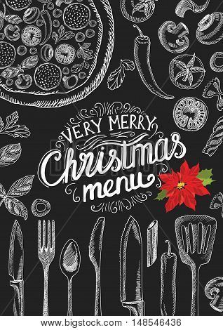 Vector christmas restaurant brochure menu template. Vector holiday background and design banner. Happy New Year party flyer with hand-drawn xmas graphic.