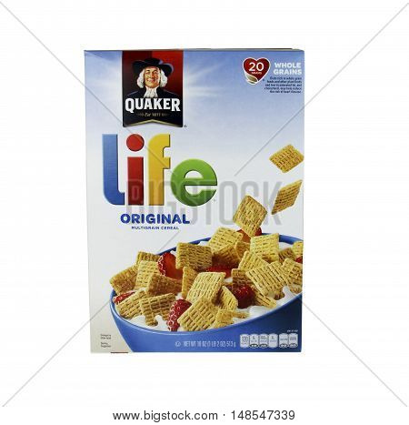 Spencer Wisconsin - September 22 2016 Box of Quaker Box of Quaker Life Cereal Quaker Oats company was founded in 1901
