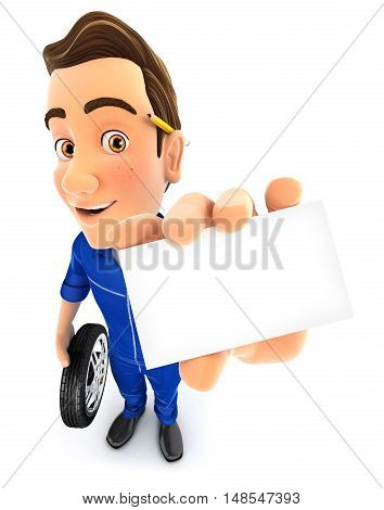 3d mechanic holding company card illustration with isolated white background