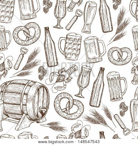 Seamless pattern of sketch vintage beer icons on a white background. Vector stock illustration.