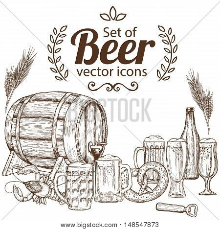 Set of sketch vintage beer icons. Vector stock illustration.