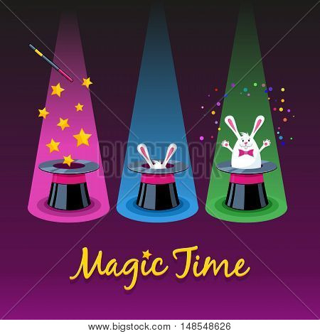 Magic Time. Three Vector Icons Of Magic Hat, Wand And White Rabbit Appearing From A Hat.