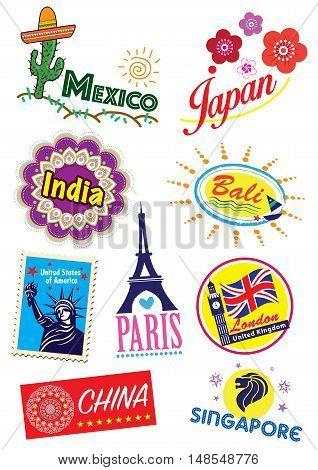 Assorted world country travel landmark icon set
