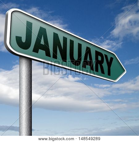 January the first month of the next year in winter season 3D, illustration