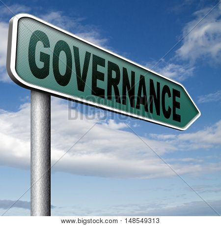governance decision making good fair and consistent management of a corporate or global project consistent reliability 3D, illustration