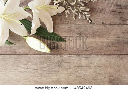 Floral Frame With White Calla, Lilies On Wooden Background. Styled Marketing Photography. Copy Space