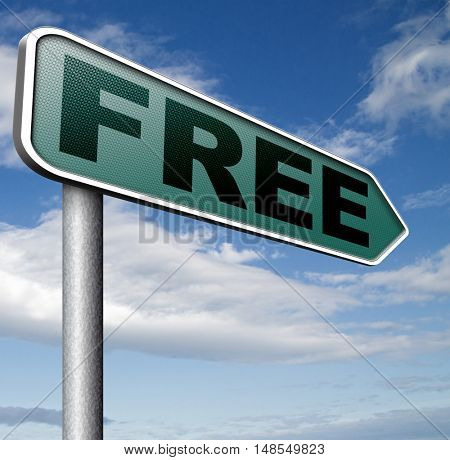 Free product trial sample offer or gratis download webshop web shop road sign 3D, illustration