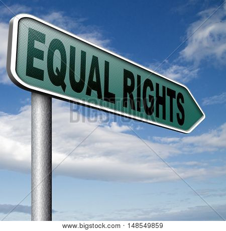 equal rights no discrimination and same opportunities for all women man disabled black and white solidarity discrimination of people with disability  3D, illustration