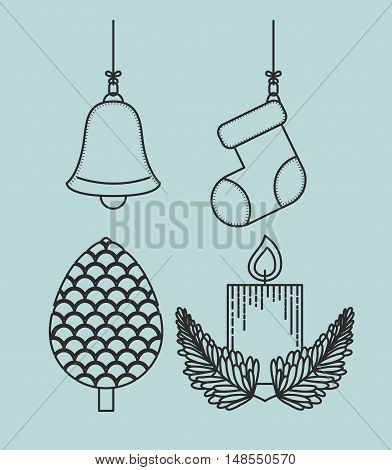 Pinecone bell boot and candle icon. Merry Christmas season and decoration theme. Vector illustration