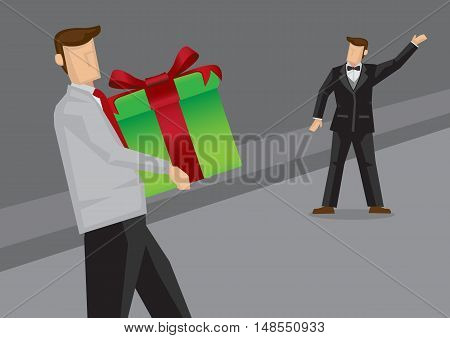 Vector illustration of party host in formal black suit and bow tie waving to guest with a big gift box.