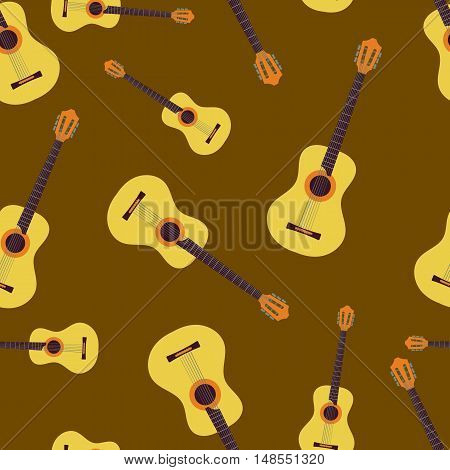 Vector seamless pattern with scattered six-string guitars on brown background