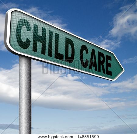 child care in daycare parenting or babysitting protection against child abuse  3D, illustration