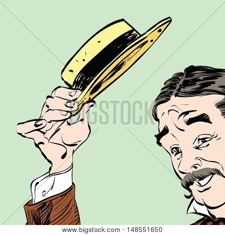 The gentleman politely raised his hat in greeting, retro hand drawn illustration. joy, smile