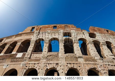Historical monument Colosseum in city Rome, Italy