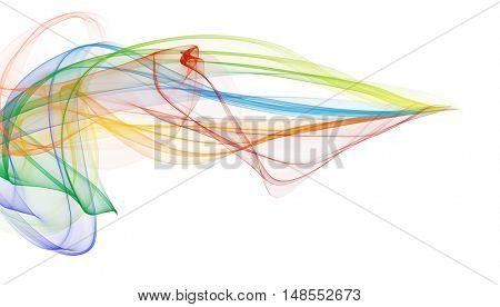 Color ribbons in the wind. White background, concept of fast motion