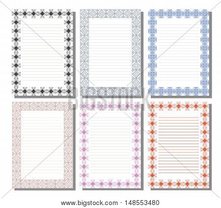 Set of vector template for letter, card or charter with empty space for text. White paper form with  decorative ornamental border. A4 format size. Series of Cards, Blanks, Forms and Template