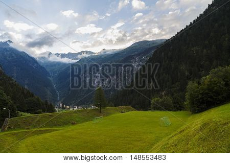 Beautiful Mountains Landscape In Alps, Switzerland