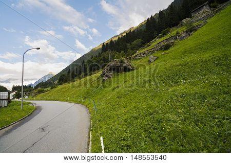 Beautiful Mountains Landscape In Alps, Switzerland