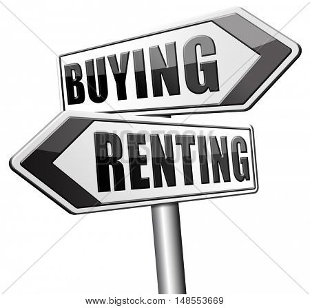 renting mortgage home ownership rent or buy a house or property and having a bank loan 3D, illustration