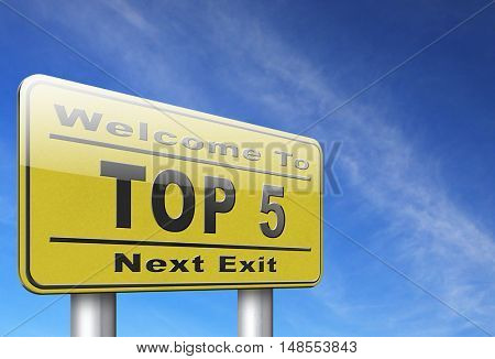 top 5 charts list pop poll result and award winners chart ranking music hits best top five quality rating prize winner road sign billboard  3D, illustration