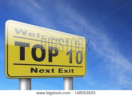 top 10 charts list pop poll result and award winners chart ranking music hits best top ten quality rating prize winner road sign billboard  3D, illustration