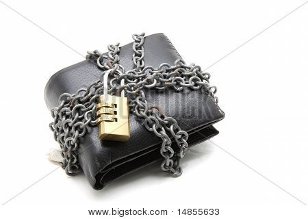 Black Leather Wallet With Pad Lock