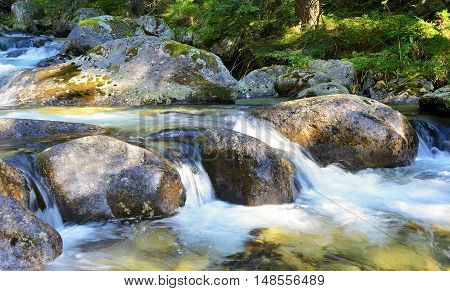Flowing Water Over Rocks In The Stream.